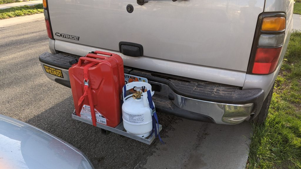 Jerry Can and Propane Tank Hitch Rack