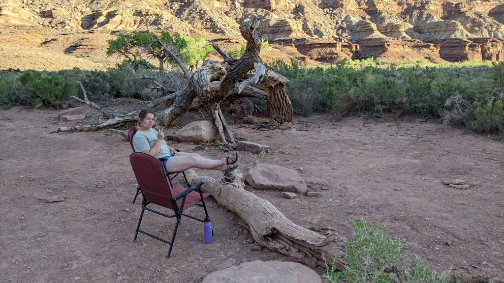 Amanda Sitting at Camp